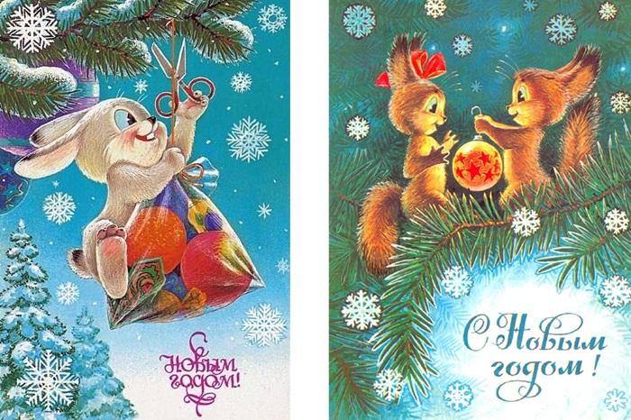 Красивые старые открытки с Новым годом (20)