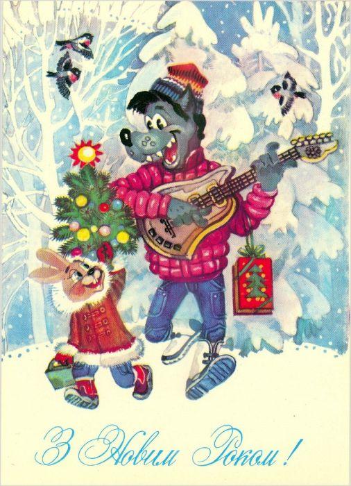 Красивые старые открытки с Новым годом (9)