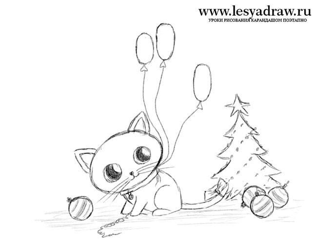Рисунки про новый год для срисовки (24)