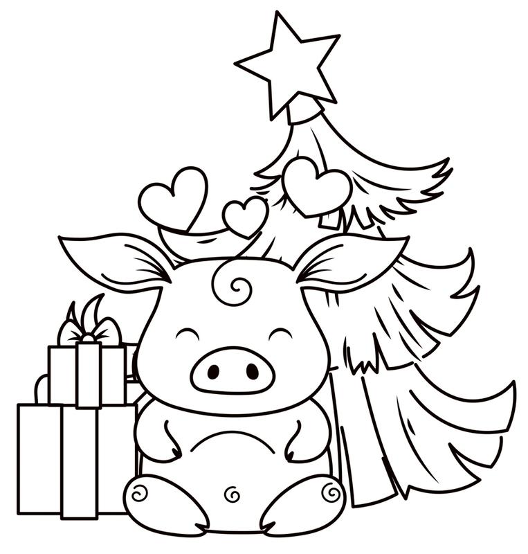 Рисунки про новый год для срисовки (30)