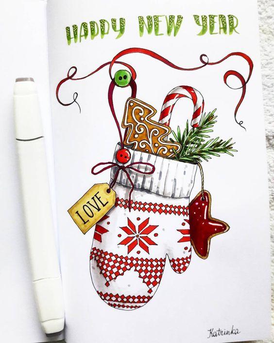 Рисунки про новый год для срисовки (8)
