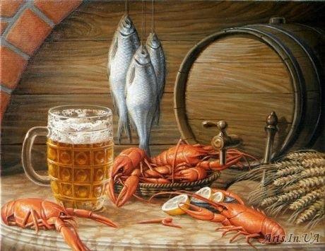 Натюрморт с пивом и рыбой 004