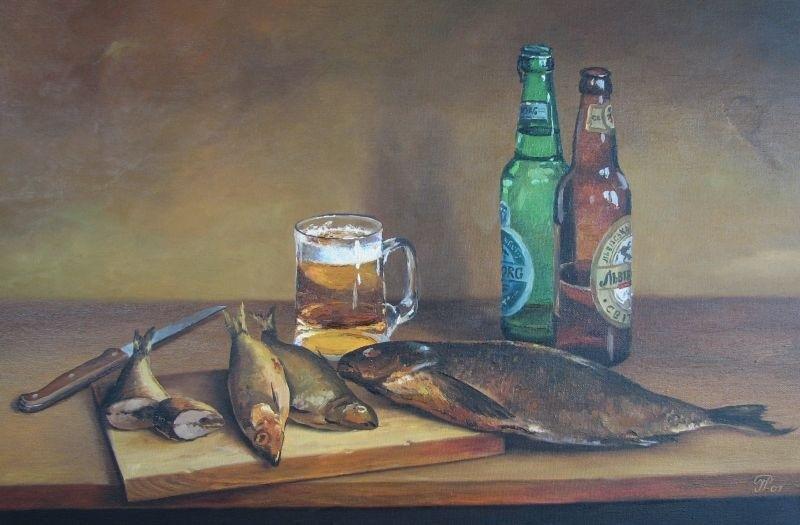 Натюрморт с пивом и рыбой 005