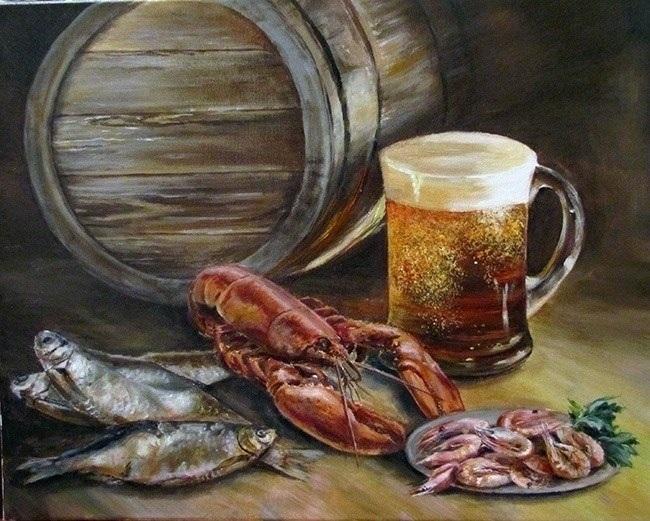 Натюрморт с пивом и рыбой 007