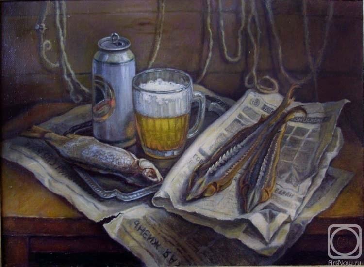 Натюрморт с пивом и рыбой 010