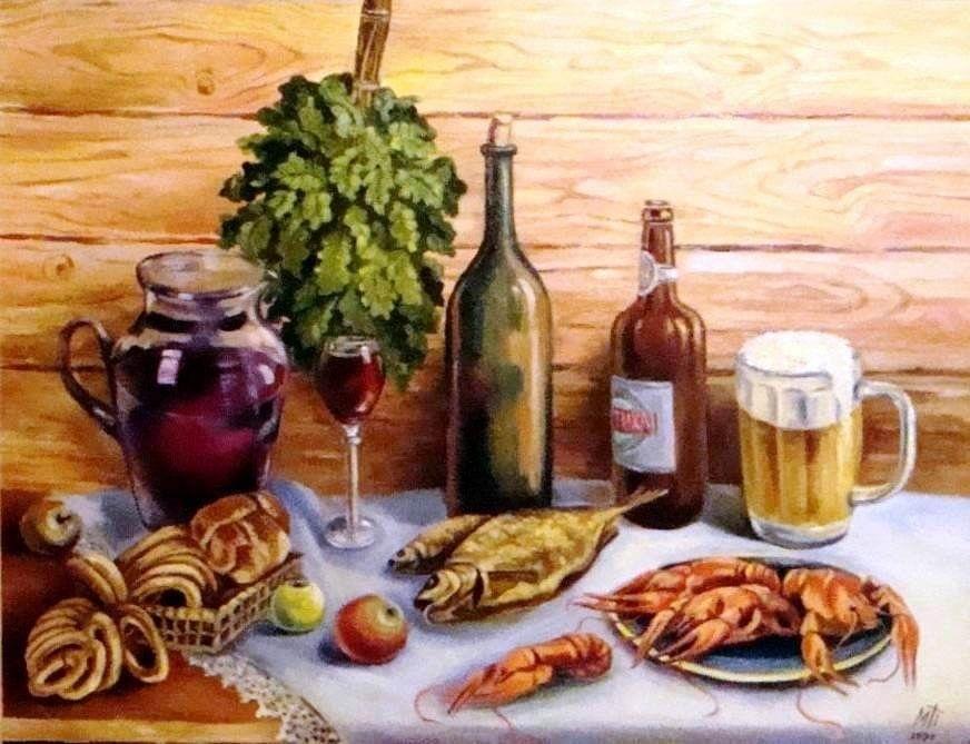 Натюрморт с пивом и рыбой 013