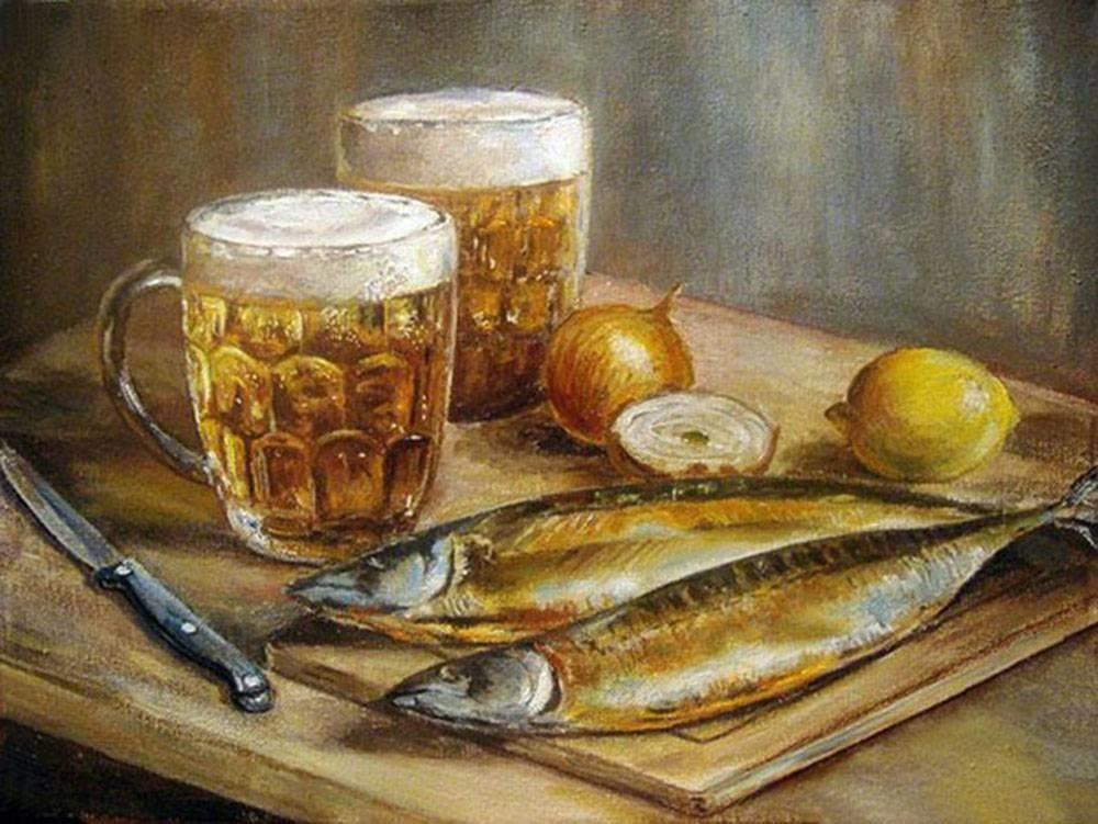 Натюрморт с пивом и рыбой 014