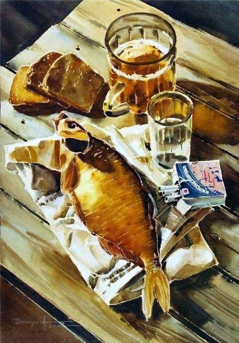 Натюрморт с пивом и рыбой 015