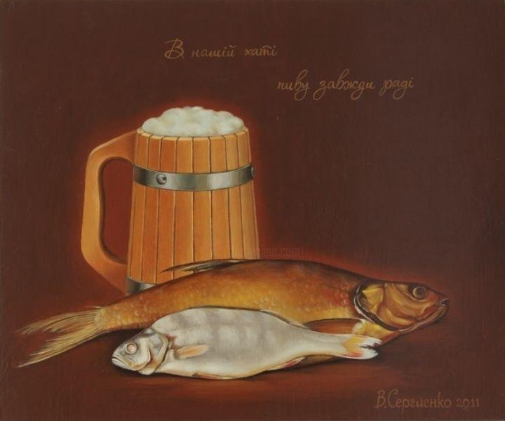 Натюрморт с пивом и рыбой 017
