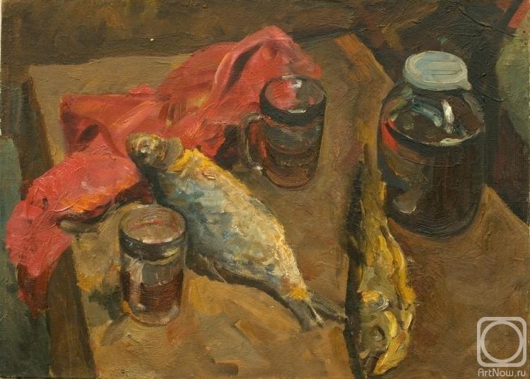 Натюрморт с пивом и рыбой 018