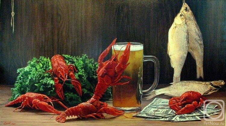 Натюрморт с пивом и рыбой 021