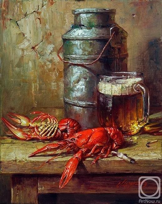 Натюрморт с пивом и рыбой 022