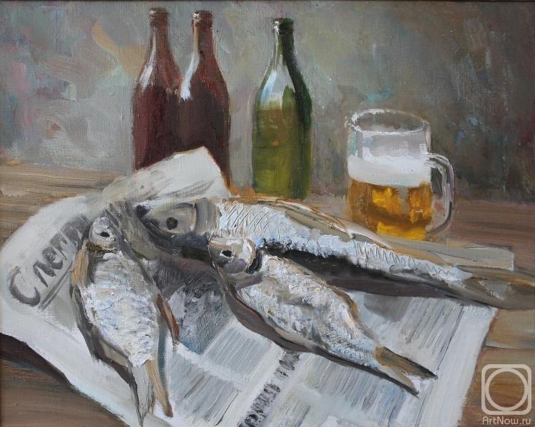 Натюрморт с пивом и рыбой 024