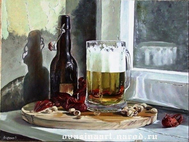 Натюрморт с пивом и рыбой 025