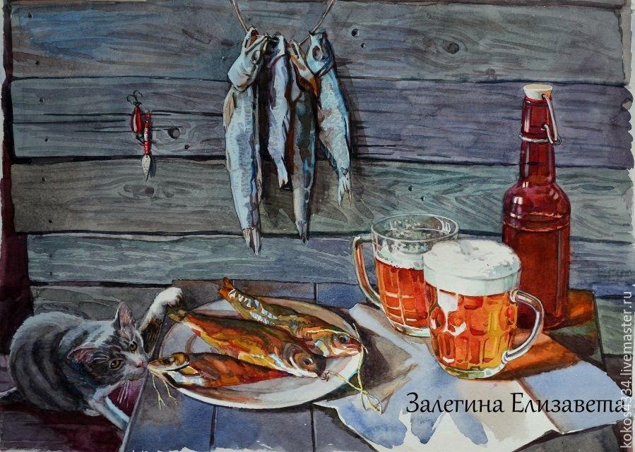 Натюрморт с пивом и рыбой 026