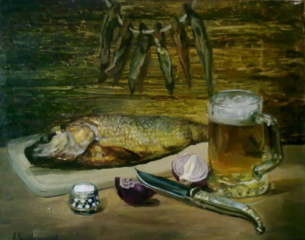 Натюрморт с пивом и рыбой 027