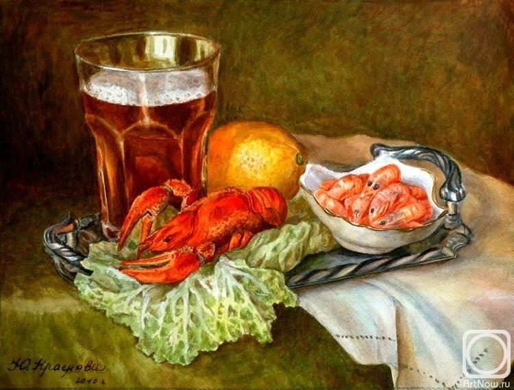 Натюрморт с пивом и рыбой 029