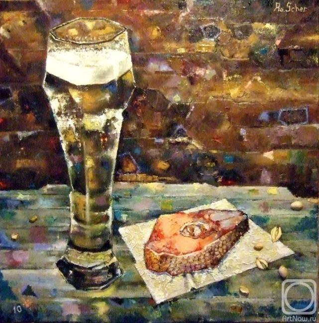 Натюрморт с пивом и рыбой 030