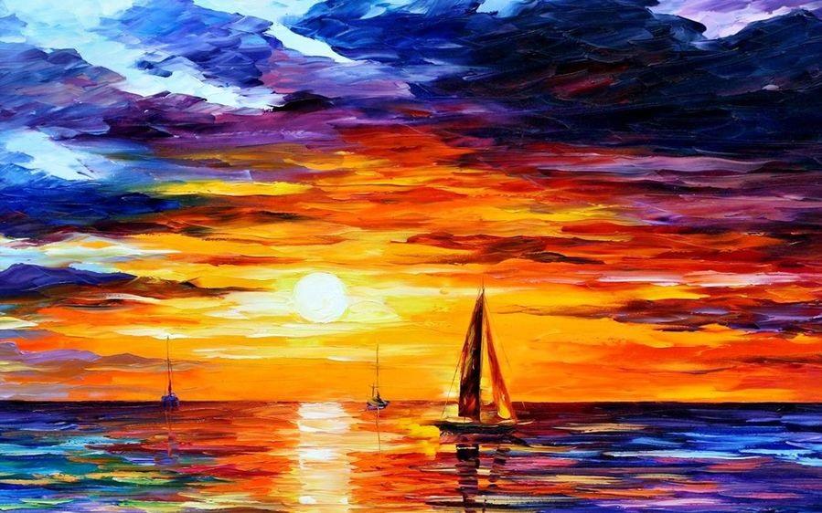 Рисунок море и парусник 029