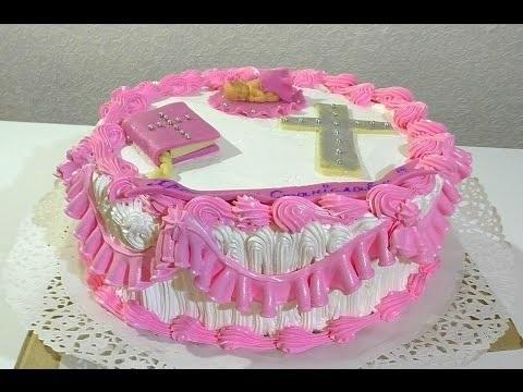 Торт из крема на крестины для девочки 001