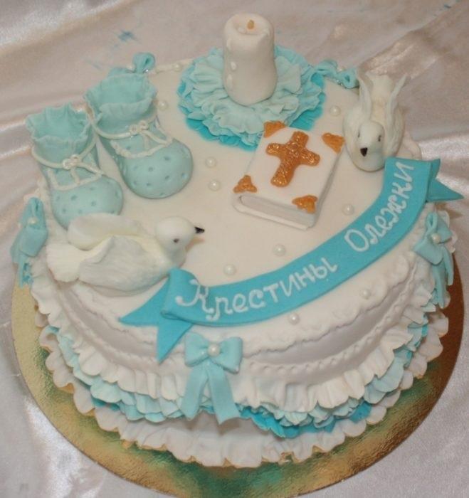 Торт из крема на крестины для девочки 003