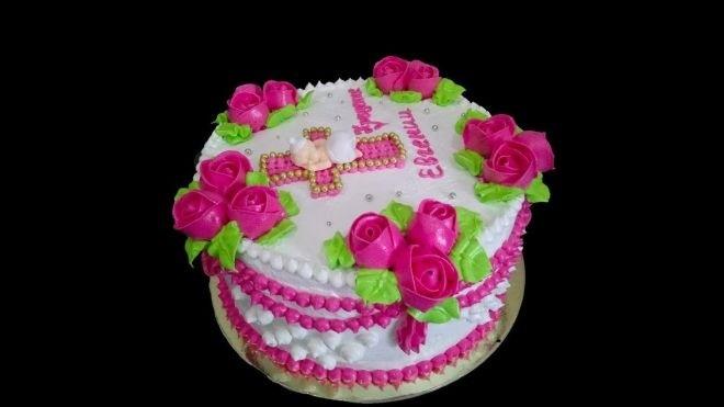 Торт из крема на крестины для девочки 004