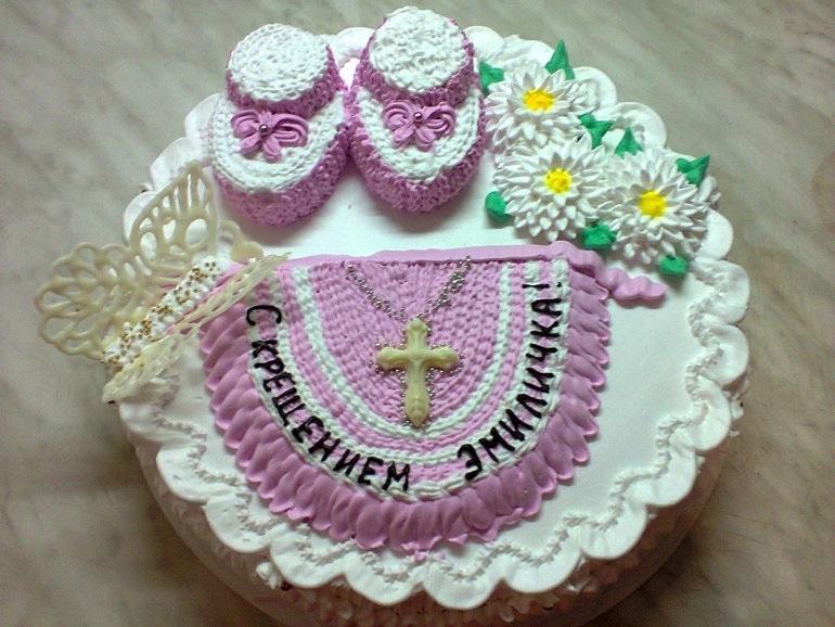 Торт из крема на крестины для девочки 005