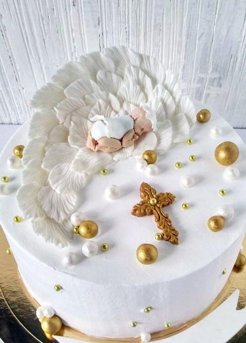 Торт из крема на крестины для девочки 006