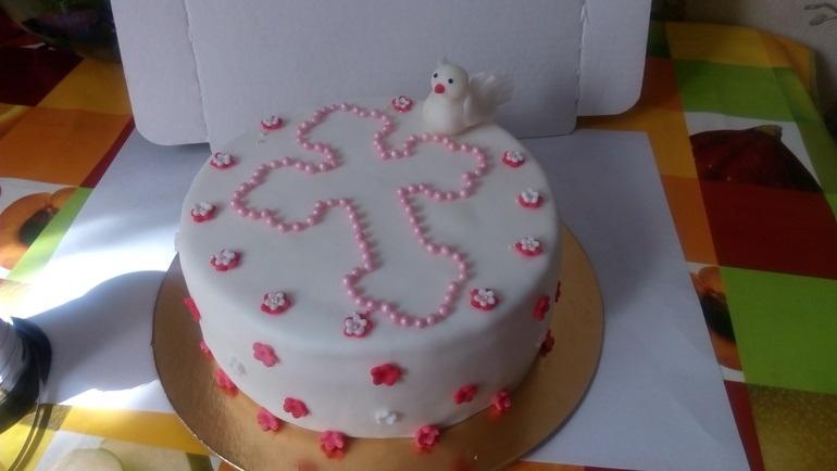 Торт из крема на крестины для девочки 008