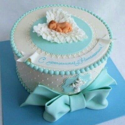 Торт из крема на крестины для девочки 009