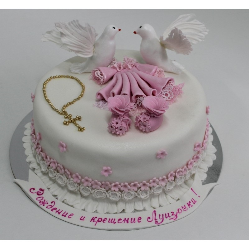 Торт из крема на крестины для девочки 010