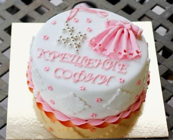 Торт из крема на крестины для девочки 011