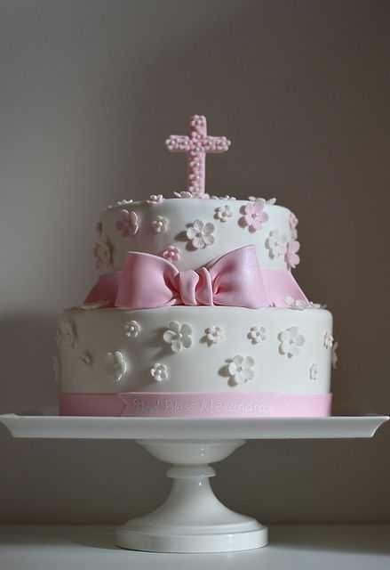 Торт из крема на крестины для девочки 012