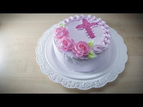 Торт из крема на крестины для девочки 013