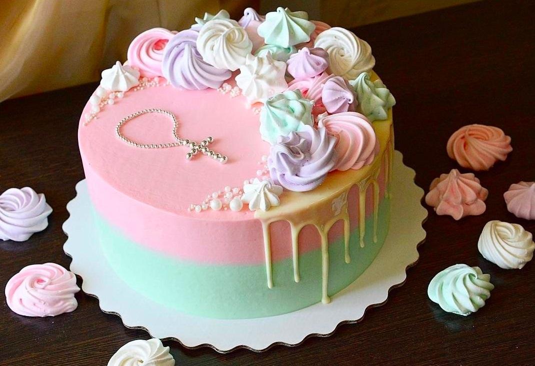 Торт из крема на крестины для девочки 014