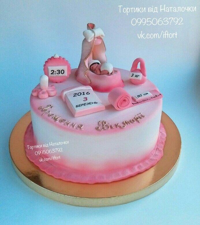 Торт из крема на крестины для девочки 016