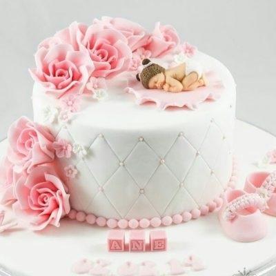 Торт из крема на крестины для девочки 018