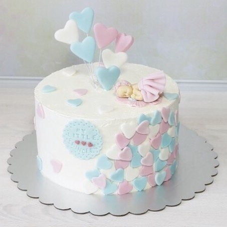 Торт из крема на крестины для девочки 020