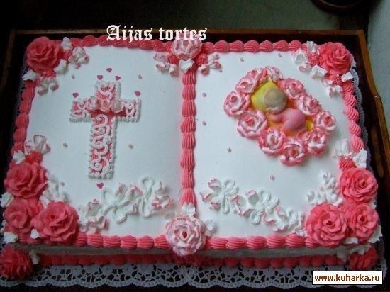 Торт из крема на крестины для девочки 021
