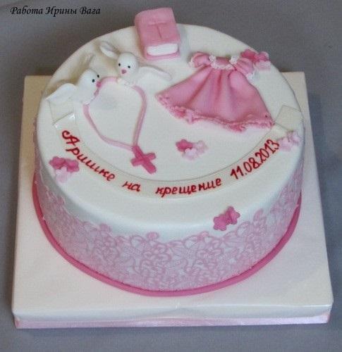 Торт из крема на крестины для девочки 022