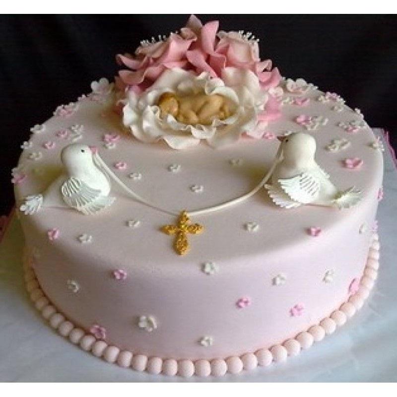 Торт из крема на крестины для девочки 023