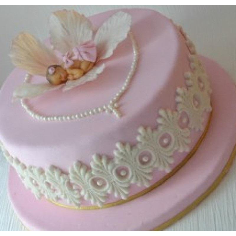 Торт из крема на крестины для девочки 024
