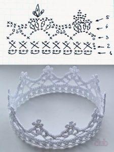 Узор крючком корона 028