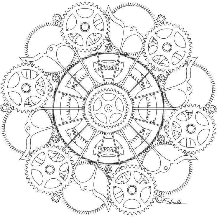 Черно белые рисунки стимпанк 004