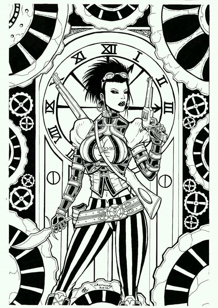Черно белые рисунки стимпанк 011