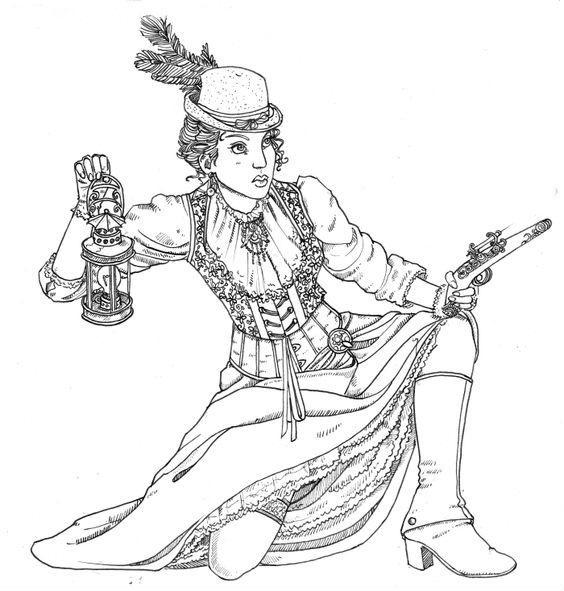 Черно белые рисунки стимпанк 013