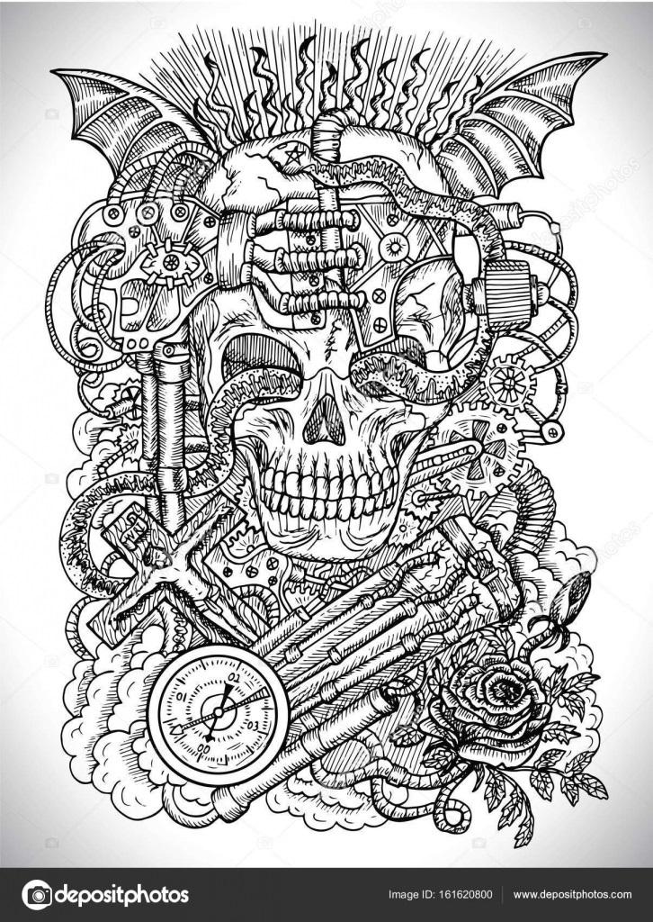 Черно белые рисунки стимпанк 014