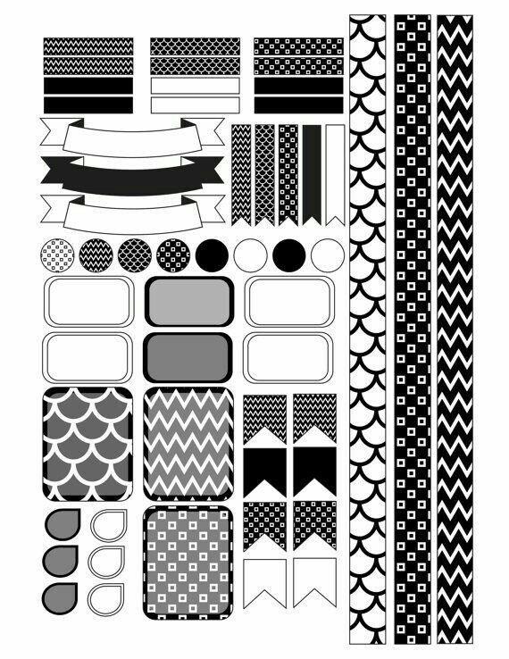 Черно белые стикеры для ежедневника 005
