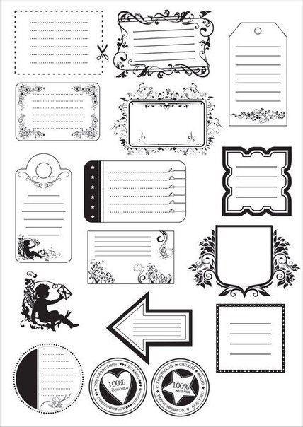 Черно белые стикеры для ежедневника 019