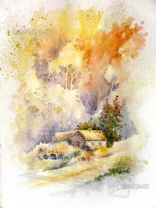 Акварельные рисунки осень 028